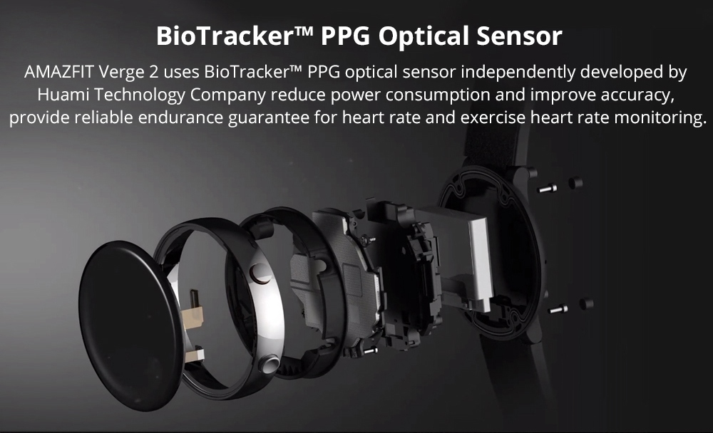 Xiaomi HUAMI AMAZFIT Verge 2: trabaja junto a un sensor óptico BioTracker PPG