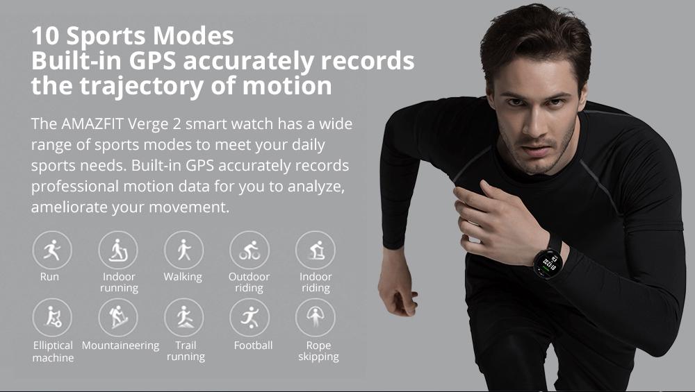 Xiaomi HUAMI AMAZFIT Verge 2: es capaz de llevar control de hasta 10 modos deportivos distintos