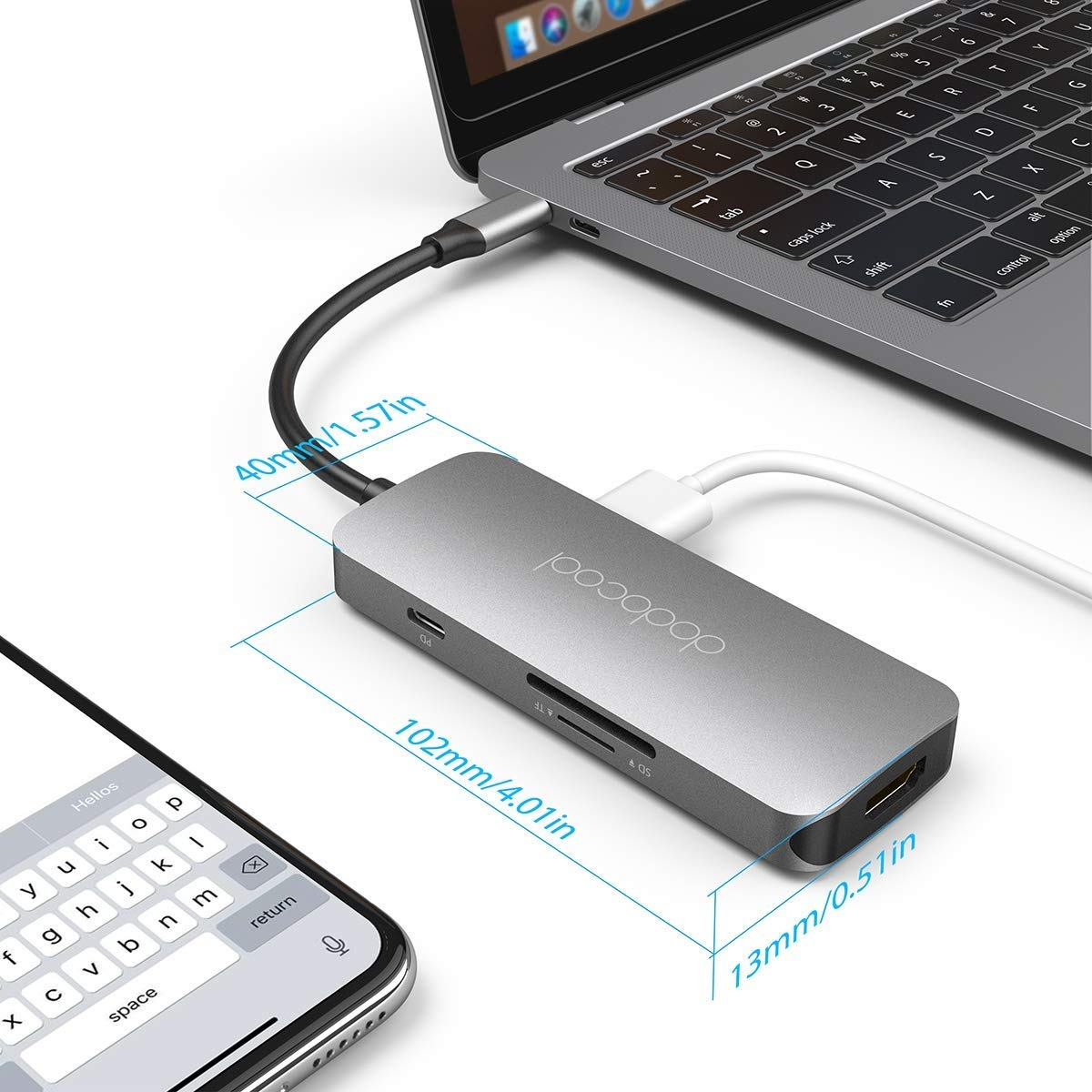 Dodocool 7-in-1 Multifunction USB-C diseño