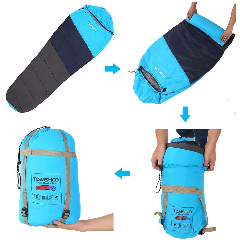 TOMSHOO Mummy Sleeping Bag diseño doblar