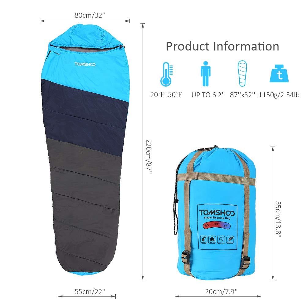 TOMSHOO Mummy Sleeping Bag especificaciones