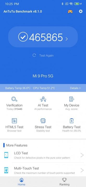 Xiaomi Mi 9 Pro 5G Análisis: AnTuTu