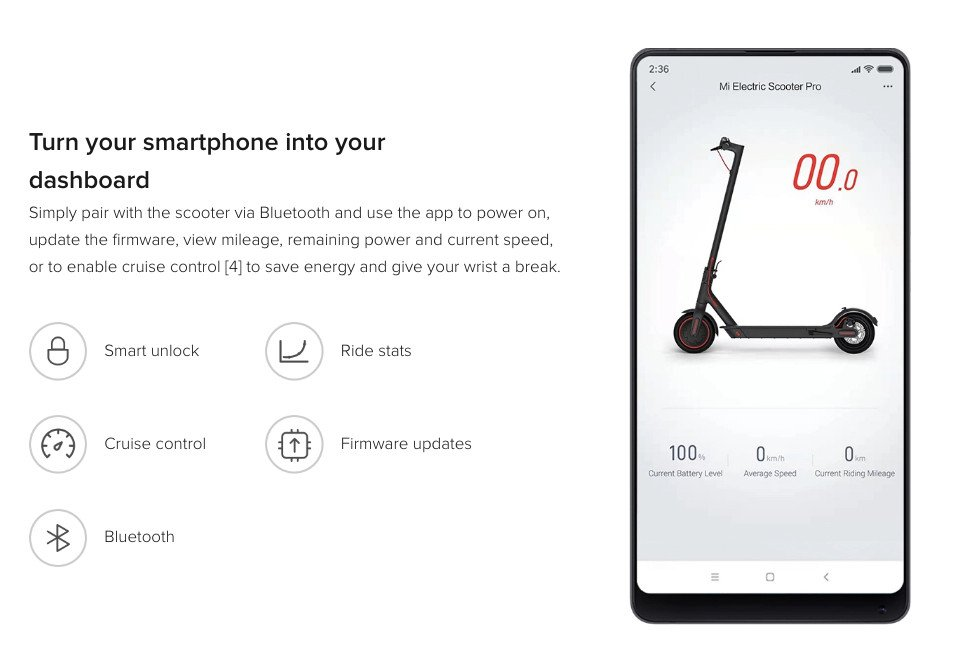Patinete Xiaomi M365 Pro - Aplicación